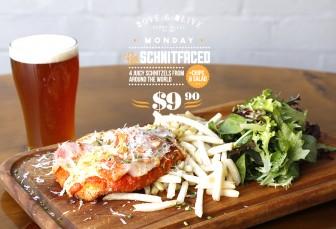 MONDAY: $9.90 Schnitzels